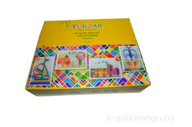 Мозаика пластиковая «Multiform», 230 предметов: 8 шаблонов, 220 округлых деталей мозаики, шнурки, корзина для хранения, игровое поле